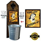 Deluxe Tops Off, Bottoms Up! Peek-A-Boo Shot Glass Holder with 2 Shot Glasses, Bottle Opener & Cap Catcher - Handcrafted by a Vet - Solid Pine, Over a Foot Tall! 15 1/2 Inches! Gift! (for your beer!)