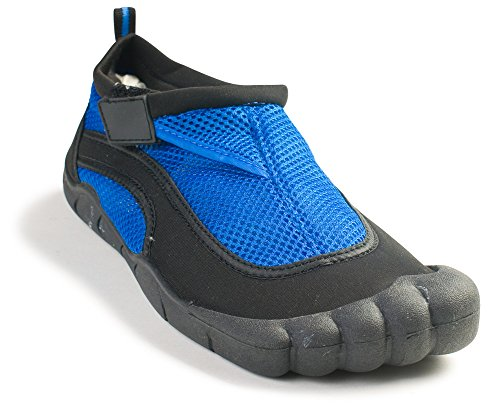 """Fun Toes Mens """"Toes"""" Style Water Shoe In 4 Bright Colors And Velcro Strap Blue 11"""