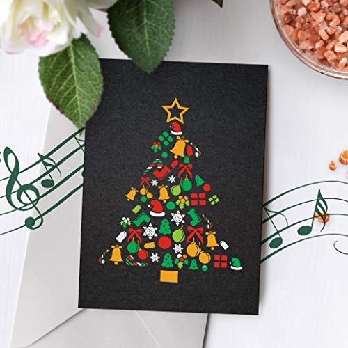 Merry Christmas Card With Music | Black Christmas Card, Christmas Tree Card, Christmas Card, Recordable Christmas Card 00001 (120 Second Recordable) (Christmas Voice Cards Recordable)