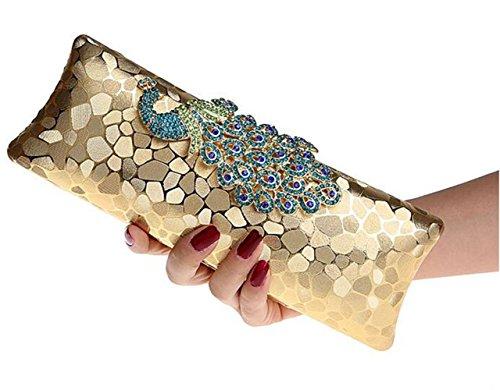 ISHOW Beaded pavo real Metal cluthes noche bolsos desmontable correas dorado