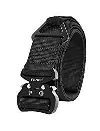 Fairwin Tactical Belt, Military Style Webbing Riggers Web Belt Heavy-Duty Quick-Release Metal Buckle in Delicate Gift Box