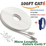 BlueCube Network - Flat CAT6 Ethernet Cable ,100 Feet RJ45 Flat Ethernet Patch Cable, Internet Cable, Network Cable with Snagless RJ45 Connectors - 100 Feet White ++