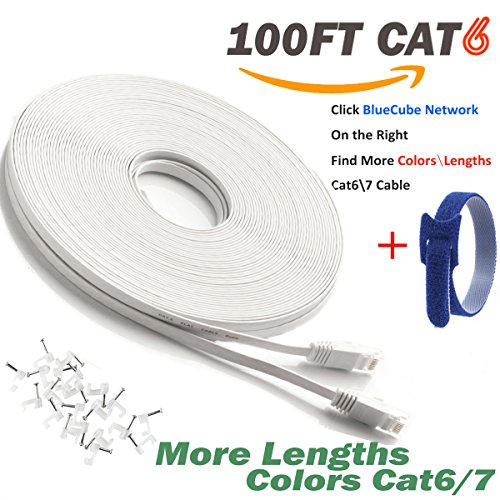 BlueCube Network - Flat CAT6 Ethernet Cable ,100 Feet RJ45 Flat Ethernet Patch Cable, Internet Cable, Network Cable with Snagless RJ45 Connectors - 100 Feet White ++ by BlueCube Network