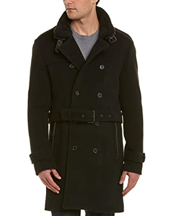 0ac50e341fd Image Unavailable. Image not available for. Color: The Kooples Mens  Leather-Trim Wool-Blend Coat ...
