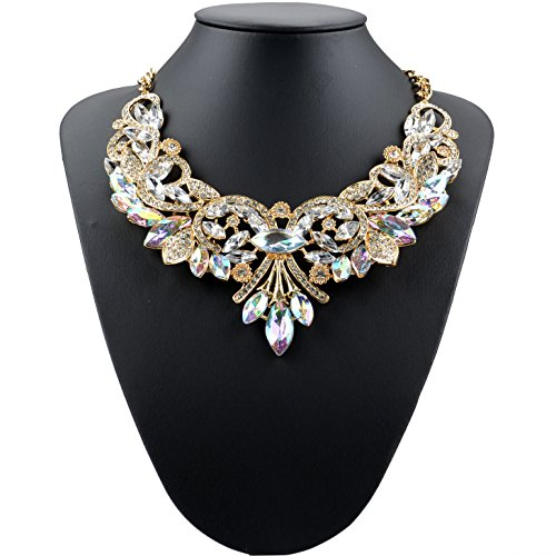 [C.H Angle Womens Rainbow Exaggerated Floral Necklaces(C3)] (Tarnished Costume Jewelry Cleaner)