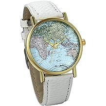 JewelryWe Classic White Leather Watch World Map Pattern Wristwatch Unisex Birthday Gift