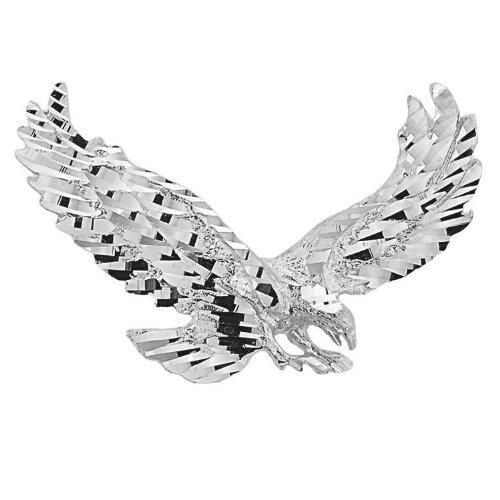 Polished 925 Sterling Silver Soaring Christian Eagle Charm (Eagle Pendant)