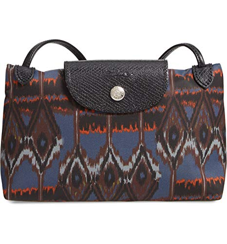Longchamp Le Pliage Ikat Print Nylon Crossbody Bag Navy