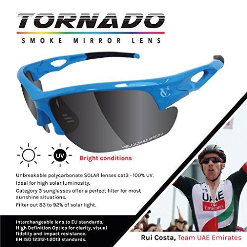 VeloChampion Lunettes de Soleil Tornado - Bike avec 3 Paires de lentilles interchangeables - Lunettes de Soleil Bleu 60np5U