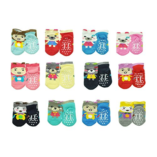 (Angelina French Terry Cotton Baby Socks with Doll Knit Design (12-Pairs), 361_0-6 )