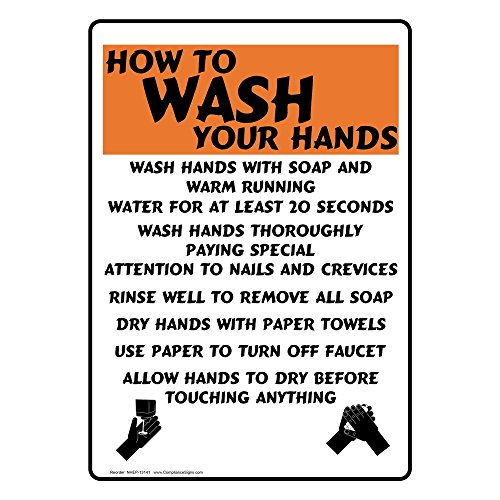 ComplianceSigns Vertical Aluminum How To Wash Your Hands Sign, 14 x 10 in. with English Text, White