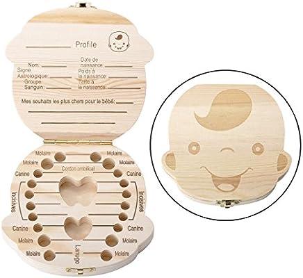 Mangostyle - Caja de recuerdo para dientes de leche en idioma francés, dientes infantiles, caja de recuerdo, Ratoncito Pérez, de madera, regalo para bebés y niños. niño: Amazon.es: Bebé
