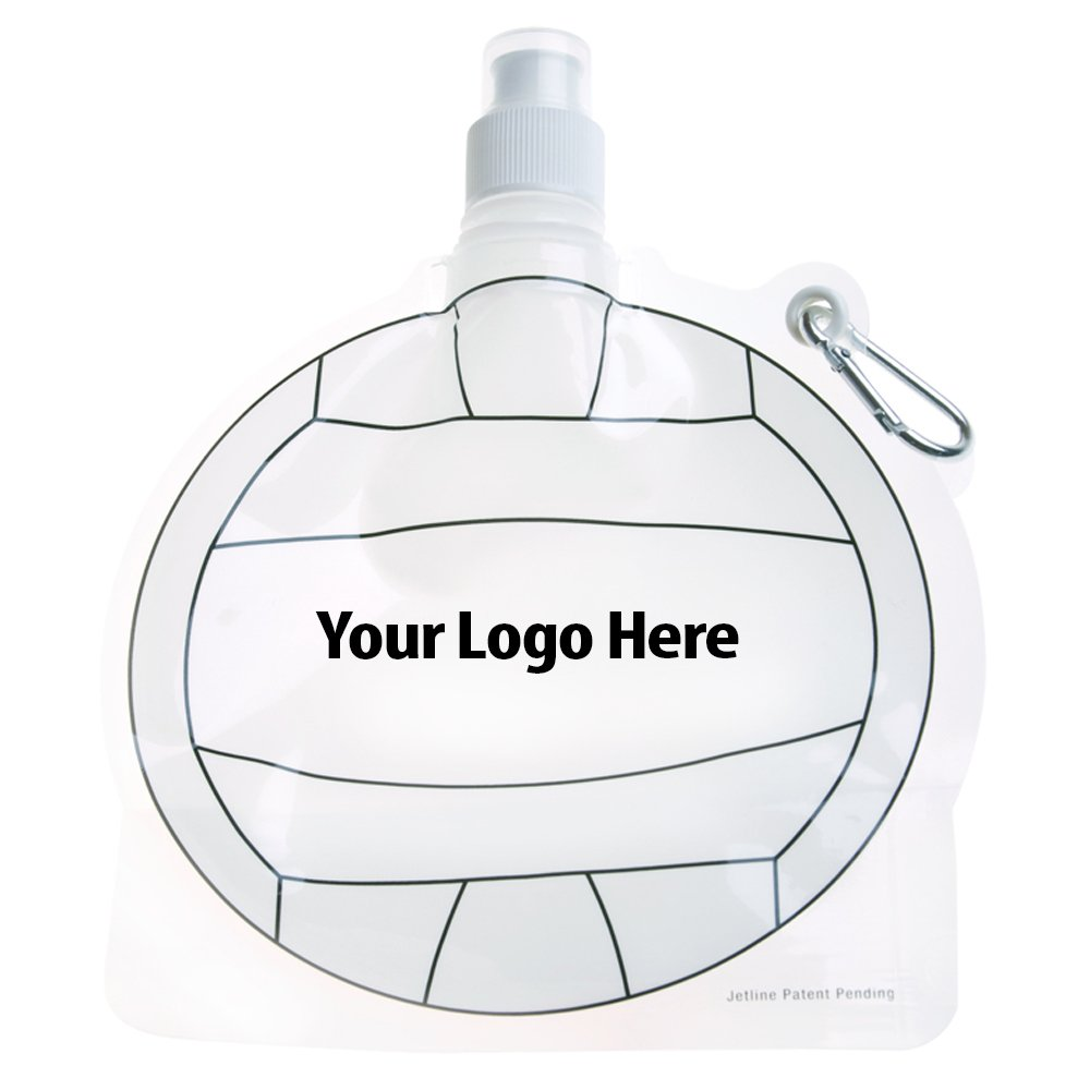 HydroPouch! 24 Oz. Volleyball Collapsible Water Bottle Patented - 100 Quantity - $3.40 Each - PROMOTIONAL PRODUCT / BULK / BRANDED with YOUR LOGO / CUSTOMIZED