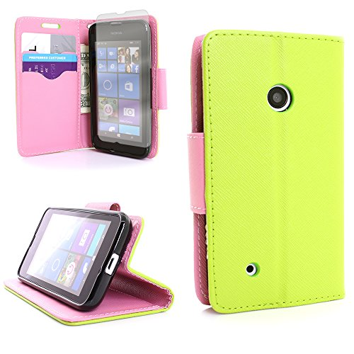 530 Wallet Flip (CarryAll Series) Case With Card Slots and Cash Compartment and With Screen Protector for Nokia Lumia 530 - Neon Green + Light Pink ()