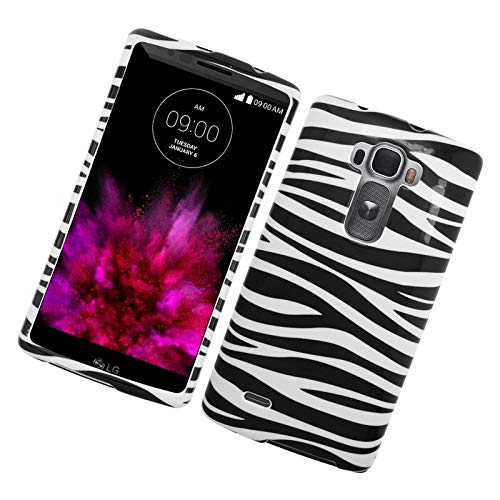 Insten Zebra Rubberized Hard Snap-in Case Cover Compatible with LG G Flex 2, Black/White