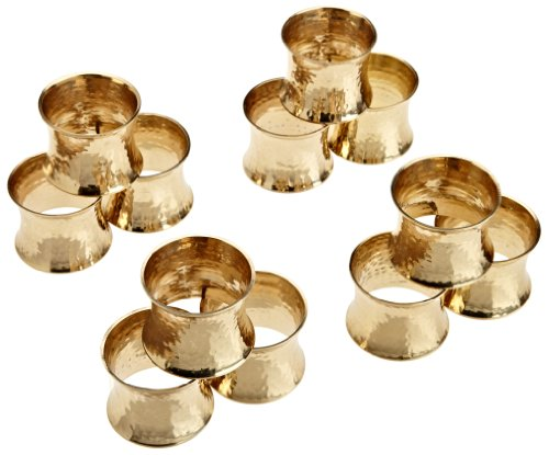 DII Basic Everyday Napkin Rings for Place Settings, Wedding Receptions, Dinner or Holiday Parties, & Family Gatherings (Set of 12), Hammered Gold (Napkin Ring)