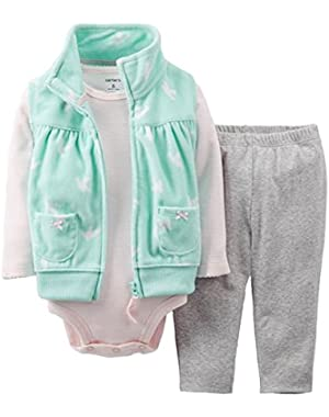 Baby Girls' 3 Piece Vest Set - Mint - (12 Months)