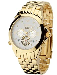 Yves Camani Navigator Diamond Gold Plated Men's Automatic Watch with White Dial Analogue Display and Gold Stainless Steel Bracelet G-30803-C