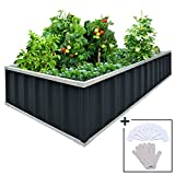 "raised garden boxes KING BIRD Extra-Thick 2-Ply Reinforced Card Frame Raised Garden Bed Galvanized Steel Metal Planter Kit Box Grey 68""x 36""x 12"" with 8pcs T-Types Tag & 1 Pair of Gloves (Grey), 17 Cu. Ft."