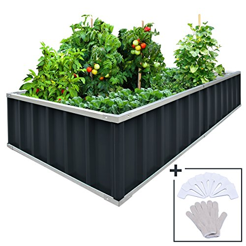 "KING BIRD Extra-Thick 2-Ply Reinforced Card Frame Raised Garden Bed Galvanized Steel Metal Planter Kit Box Grey 68""x 36""x 12"" with 8pcs T-Types Tag & 1 Pair of Gloves (Grey), 17 Cu. Ft."