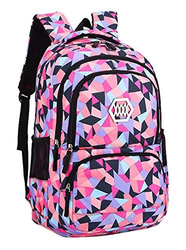 Bansusu Geometric Prints Primary School Student Satchel Backpack For Girls