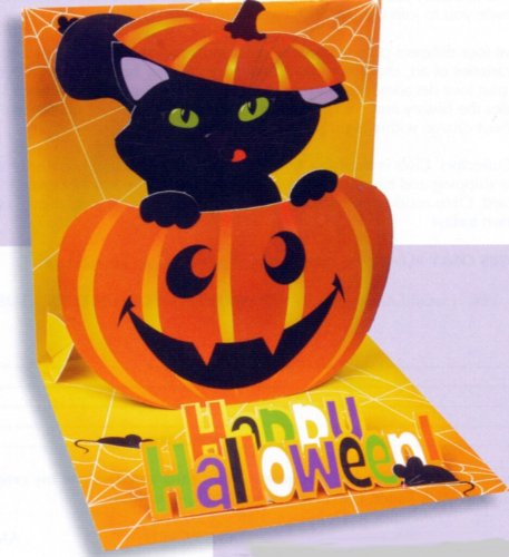 Halloween Greeting Card Pop-Up Pumpkin Cat -