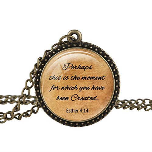 FM42 Vintage Style Esther 4:14 Christian The Bible Religious Inspirational Quote Pendant Necklace TN2648