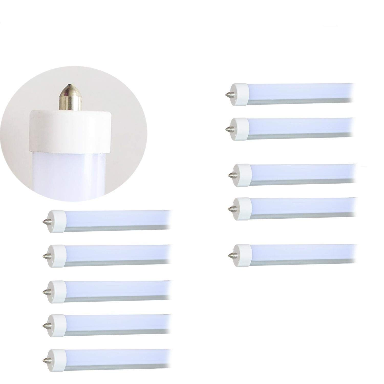 40w 8ft Led Light Tubes For Fluorescent Fixtures F96t12 T12 How To Install A Tube Bypassing Ballast Leds Replacement 120v 277v Input 5500k Daylight White 40watt 4000lm Frost Lens