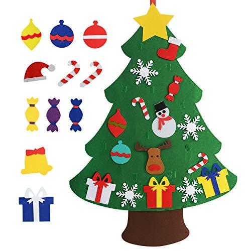 Chasgo Felt Christmas Tree Kit with 27 PCS Christmas Ornaments, Funny Hanging Christmas Tree Decor for Kids Room, New Year Xmas Gift for Kids
