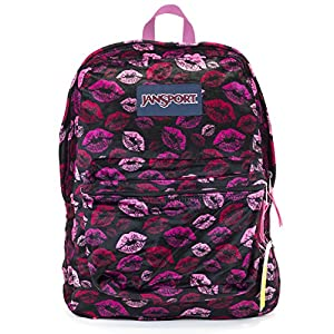 Jansport Superbreak Backpack (Black Plush Lips)