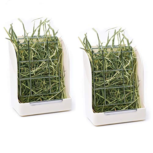 CalPalmy (Upgraded 2-Pack) Hay Feeder/Rack - Ideal for Rabbit/Chinchilla/Guinea Pig - Keeps Grass...