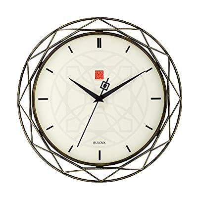 """Bulova Frank Lloyd Wright Luxfer Prism Wall Clock, 14"""", Bronze - Off-white face Quiet sweep (no ticking) second hand Raised hour indexes on dial - wall-clocks, living-room-decor, living-room - 51b4JHHjU%2BL. SS400  -"""