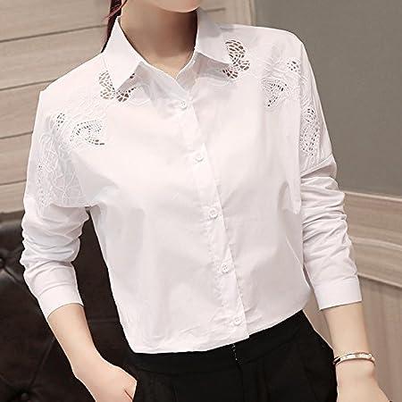 XXIN /Camisa Blanca Bordada Long-Sleeved Hembra/Camisa/Camisa ...