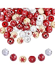 JHGCVX 120 Pieces 0.6 Inch Snowflake Christmas Wooden Beads,Natural craft round wood beads for Xmas Party Decor(Wihte, Red)