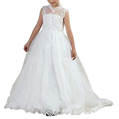 5da50368b52 Suiun Dress Princess Tulle Dresses Appliques First Communion Dress Girls Dress  Sequin Tulle Birthday Party Ivory
