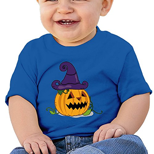 Halloween Pumpkin Personalized Designer Graphic Baby O-neck Tee Cotton RoyalBlue Size 18 Months -