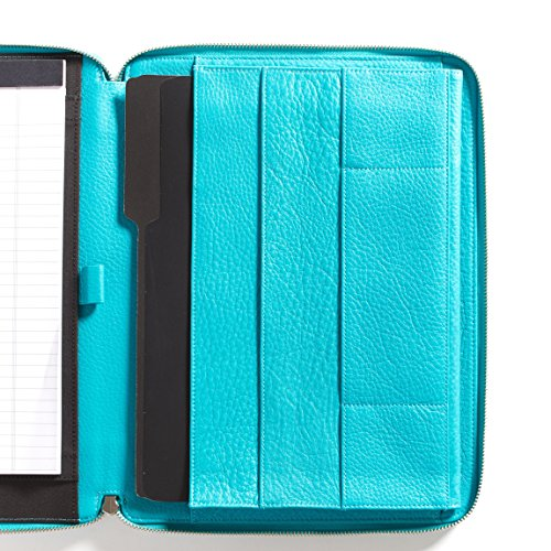 Leatherology Left Handed Executive Zippered Portfolio - Full Grain Leather Leather - Teal (Blue) by Leatherology (Image #6)