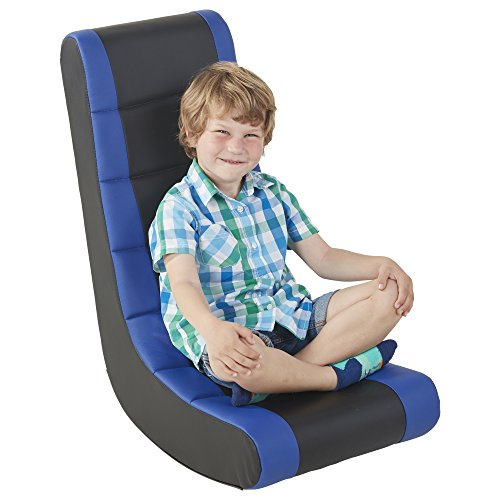ECR4Kids SoftZone Kids Gaming Rocker - Soft Foam Chair for Movies, Reading or TV - Black and Blue
