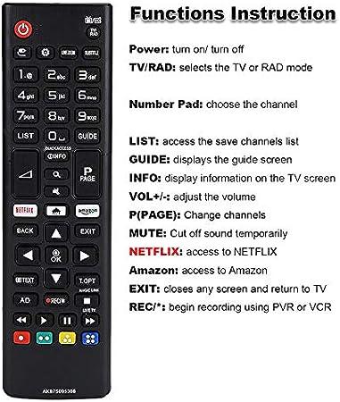 Mando a Distancia para LG Smart TV AKB75095308 con Botones Amazon Netflix Control Remoto 32LJ610V 43UJ634V 49UJ634V 55UJ634V 65UJ634V 43UJ6309 49UJ6309 60UJ6309 65UJ6309 43LJ614V: Amazon.es: Electrónica