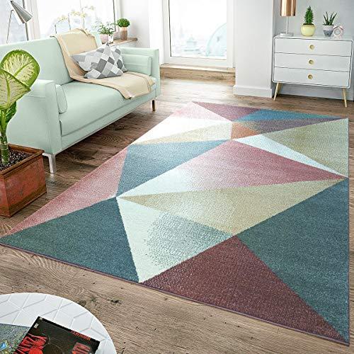 Rug Short-Pile Modern Trendy Pastel Geometric Design Mottled Inspiration Multi, Size:60x100 cm ()