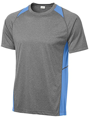 Joe's USA Men's Athletic Heather All Sport Training T-Shirt-Heather/Carolina - Carolina Sleeve Usa Long