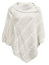 Ogluxe Women Poncho 3 Button Knit Cardigan Sweater Poncho 3 Button Cable Net Jumper Cardigan Knitted S M Uk 8 10 Eu 36 38 Us 4 6 Cream