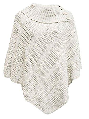 OgLuxe Women Poncho 3 button knit cardigan sweater - PONCHO 3 BUTTON CABLE NET JUMPER CARDIGAN KNITTED (S/M (UK 8-10 EU 36-38 US 4-6), Cream) Cashmere 3 Button
