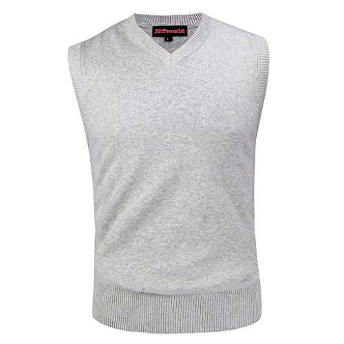 jntworld Wool Blend Waistcoats V Neck Vest Sweater Slim Slipover,XL,Light Grey