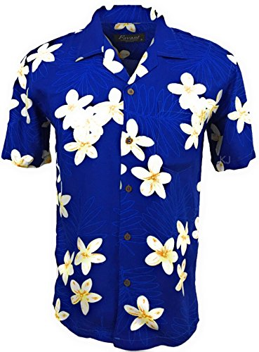 Favant Tropical Luau Beach Plumeria Floral Print Men's Hawaiian Aloha Shirt … (Medium, Blue) (Tiki Aloha Shirt)