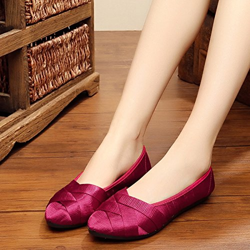 with breathable Purple shoe shallow flat work Women's shoes braided casual bottom mouth RqYYZp