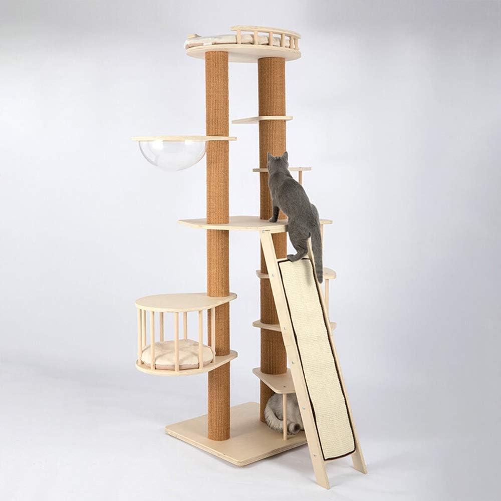 KYEEY Marco de Escalada de Gato Escalera de Caracol Gato Columpio sólido Columpio de Madera Rejilla Plataforma de Salto del Gato Casa de Muebles Cat Tower (Color : Wood, Size : One