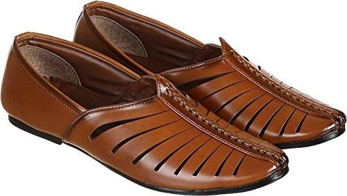 Syn Leather Pathani Mojaris(Brown