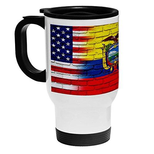 High Quality White Stainless Steel Coffee / Travel Mug - Flag of Ecuador (Ecuadorian) - Bricks/USA