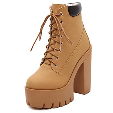 7d2eb1ece0c6f3 Femmes Plateforme Talons Bottines Automne Hiver Chaussures Lacets Talon  épais Parti Bottes à Talons carrés